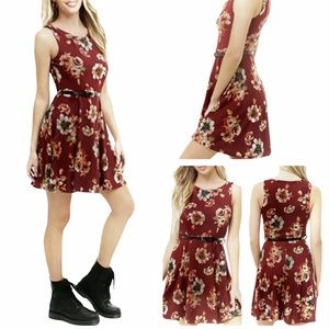 Red Wine Floral belted Flare Knit Mini Dress Small